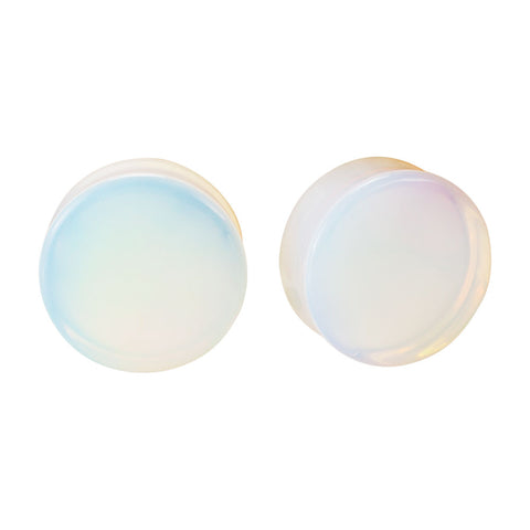 Opalite Double Flared Plugs Pair