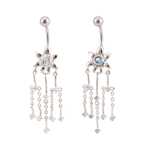 JEWELED Daisy Flower Dangle Navel Belly Ring GEM Clear