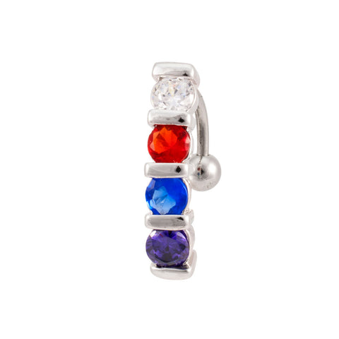 Multi-Color Set Gem Reverse Navel Ring Belly Rings