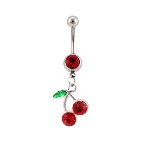 Jeweled Lucky Cherries Dangle Navel Belly Ring Gem CZ