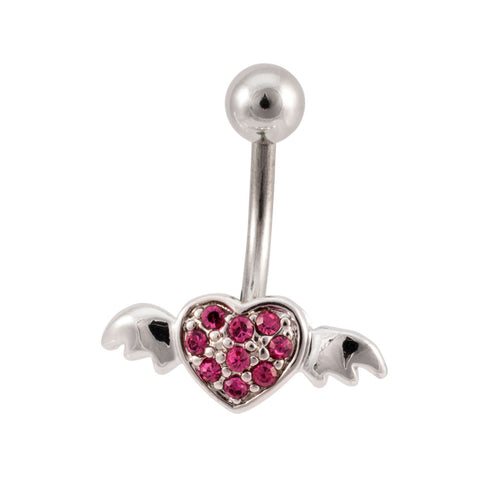 Pink Multi Jeweled Winged Heart Belly Button Ring Navel