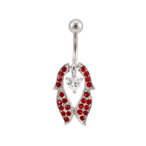 JEWELED Heart & Shield Navel Belly Ring GEM New