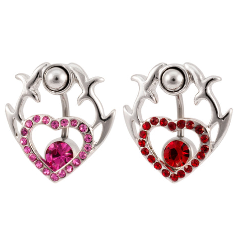 2 in 1 Tribal HEART Belly Button Ring Shield Navel RED