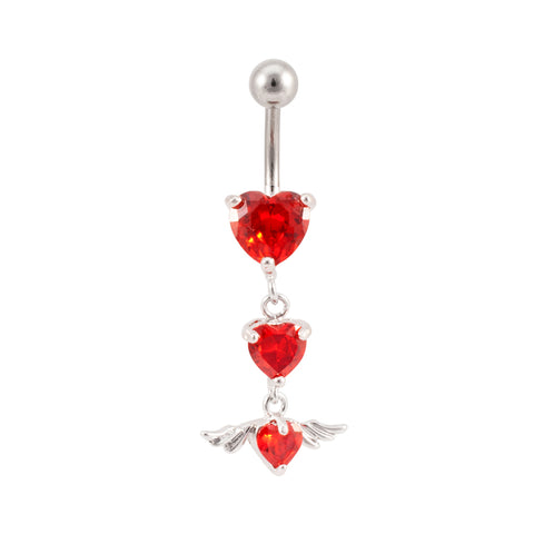Triple Hearts & Wing Navel Ring Belly Rings RED CZ NeW
