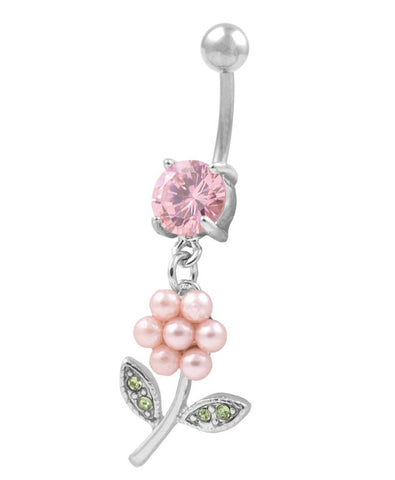 Pearl Flower Dangle Solitaire Belly Navel Ring CZ