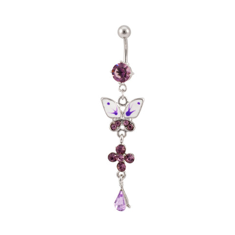 Purple Butterfly Dangle Charm Belly Button Navel Ring Cute Sexy Fashion 14 Gauge