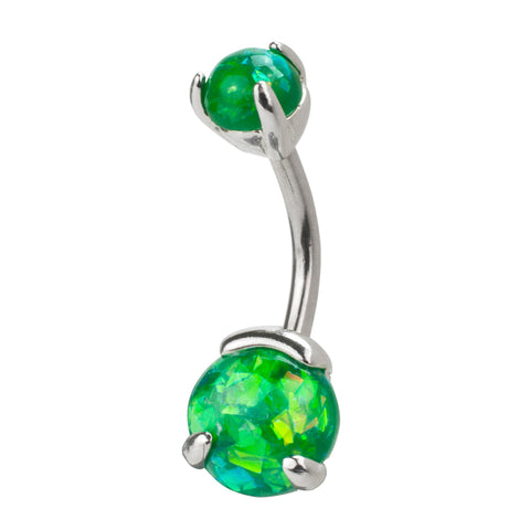 Bold Steel 14G Stainless Steel Synthetic Opal Curved Navel Barbell
