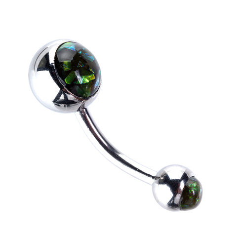 Created-Opal Curved Navel Barbell Jewelry Stainless Steel Bezel Setting