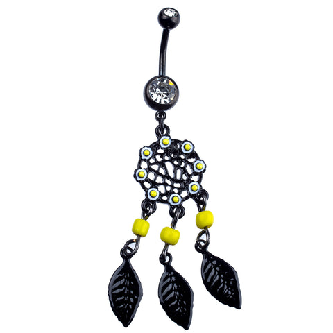 14 Gauge Curved Barbell Black Coated PVD (Physical Vapor Deposition) Stainless Steel with Dangle Drop Dreamcatcher - Piercing Pros