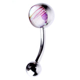 14 Gauge Curved Barbell for Navel Piercing Bottom Drop Body Jewelry w Synthetic Opal Choice of Color