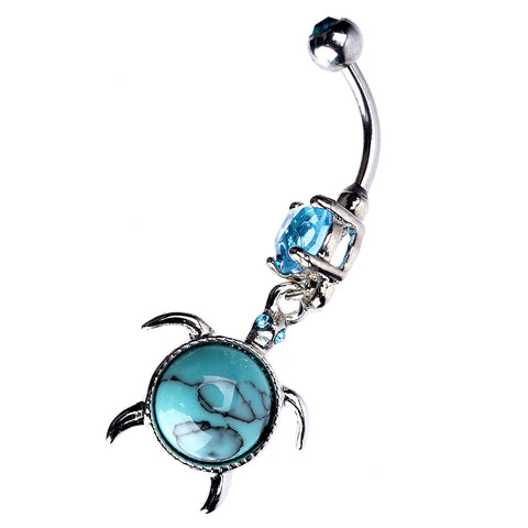 14 Gauge Curved Barbell with Synthetic Turquoise Turtle Shell Dangler Stone Body Jewelry for Navel Piercing - Piercing Pros