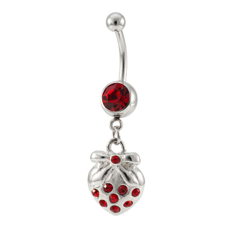 14G Stainless Steel Dangling Strawberry Jeweled Charm Navel Ring Piercing - Piercing Pros