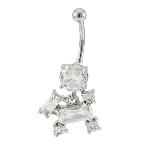 14G Curved Barbell Jeweled Stainless Steel Dangling Charm Navel Belly Ring