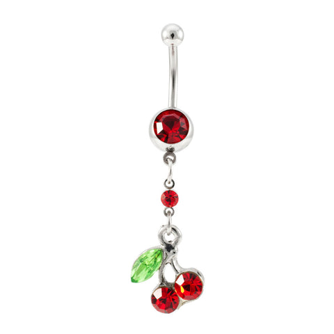 14G Dangling Stainless Steel Curved Barbell Red Green Jeweled Cherry Belly Ring