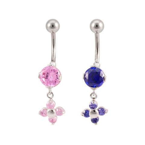 Solitaire Flower Dangle Navel Belly Ring GEM CZ