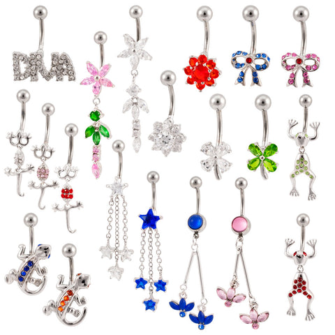 Lot 25 14G Assorted Styles Naval Belly Rings Mixed Barbells Body Jewelry BB-1002