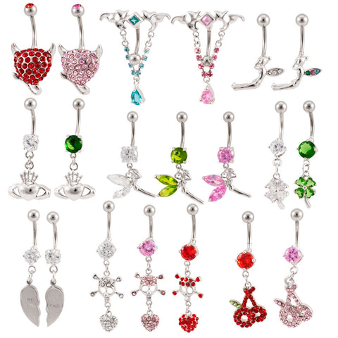 Lot 25 14G Assorted Styles Naval Belly Rings Mixed Barbells Body Jewelry BB-1003
