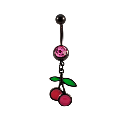 Black Titanium PINK Cherries Belly Ring Cherry Navel