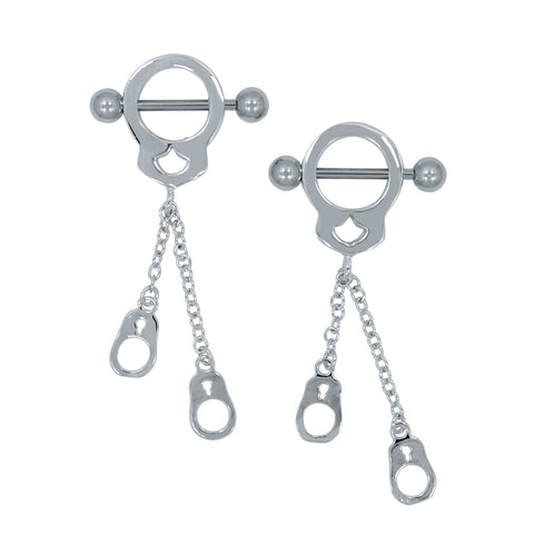 14G Stainless Steel Dangling Handcuff Barbell Nipple Ring Pair Navel Jewelry - Piercing Pros