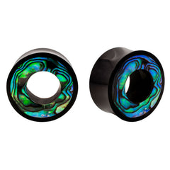 PAIR Abalone & Horn Organic Plugs Tunnels Double Flared Flesh Rare Unique - Piercing Pros