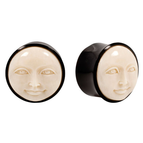 PAIR Horn & Buffalo Bone CALM MOON Face Natural Organic Plugs Flesh Rare Unique