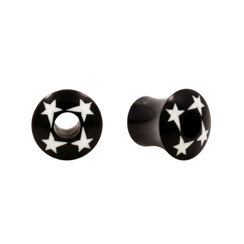 PAIR Multi Star Horn & Natural Buffalo Bone Organic Plugs Flare Flesh Unique