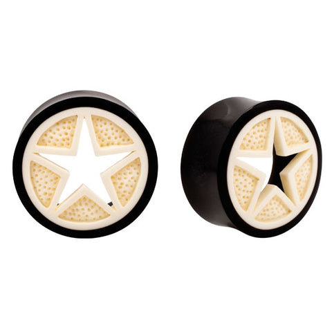 PAIR Carved Buffalo Bone & NATURAL Horn Star Organic Plugs Flesh Rare Unique - Piercing Pros
