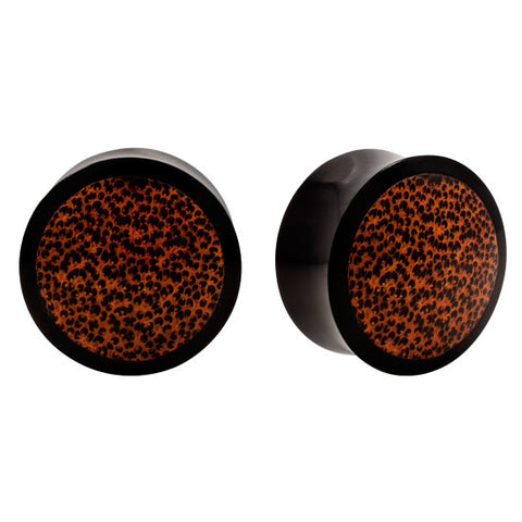 Pair Natural Horn Real Palm Wood Saddle Organic Plugs Flesh