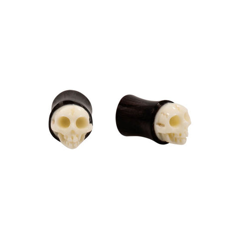 "PAIR 9/16"" ORGANIC Horn SKULL Double Flare Ear Plugs NeW"
