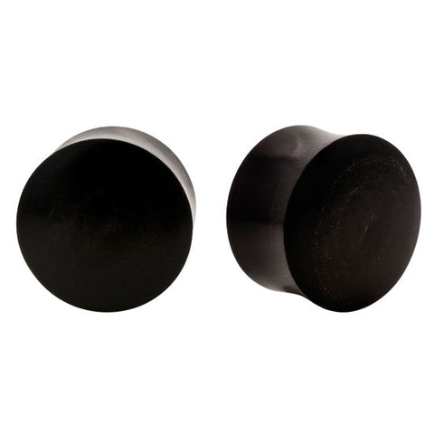 PAIR Saddle Organic Horn Double Flared Solid Plugs Flesh