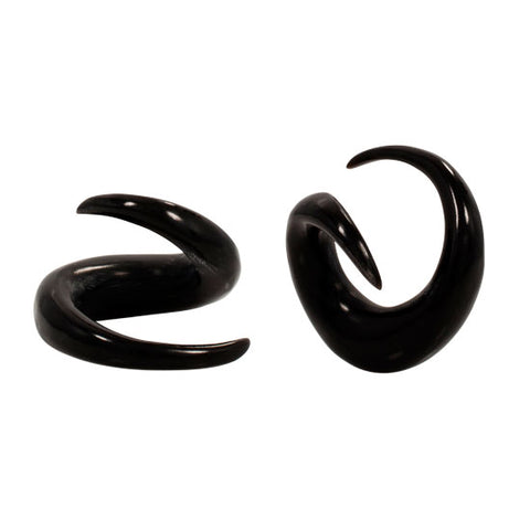 PAIR NEW Organic Horn Spring Hanger Taper Spiral Claw Flesh