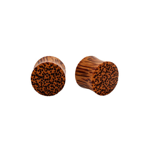 PAIR Solid Palm Natural Wood Organic Plugs Dbl Flared Flesh