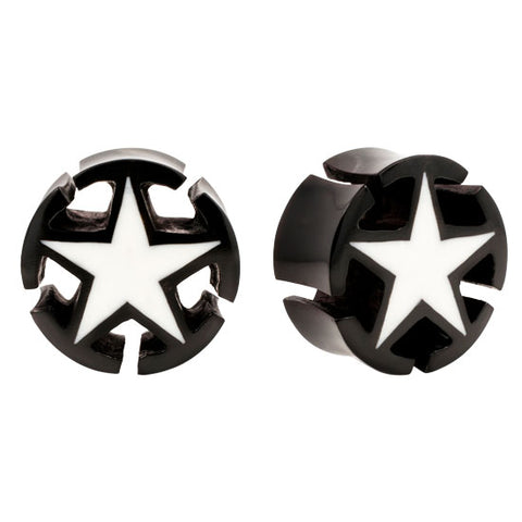 PAIR Unique 3D STAR Horn Buffalo Bone Organic Ear Plugs Flesh Rare Unique