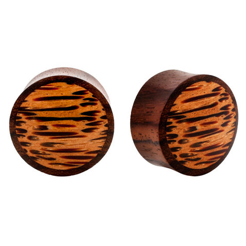 PAIR Natural Coco & Sono Wood Organic Flared Ear Plugs Flesh