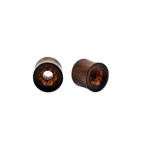 NATURAL Coco & Areng Wood Organic Tunnel Plugs PAIR Flesh