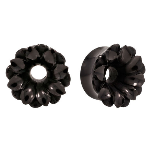 DETAILED Lotus Flower Buffalo Horn Organic Tunnel Plugs Flesh Rare Unique