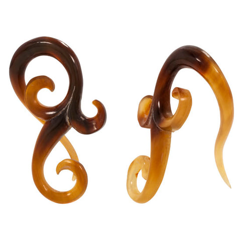 PAIR Organic Hanger RARE Natural Golden Horn Ear Plugs Flesh Rare Unique