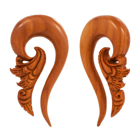 PAIR Organic Sabo Wood Intricate Carving Hangers UNIQUE Flesh Rare Unique