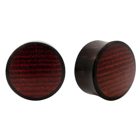 Red Sono & Horn Fused 100% Organic Double Flared Plugs Flesh Rare Unique