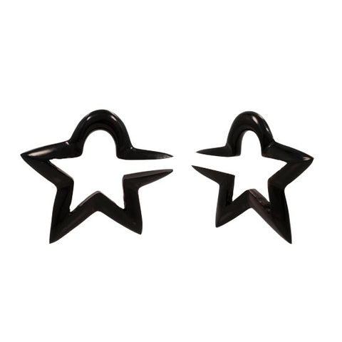 PAIR Horn Cutout 3D OPEN Star 100% Organic Hanger Plugs Flesh Rare Unique