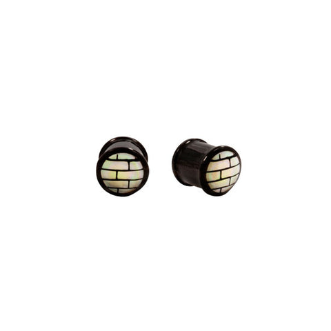 PAIR | Buffalo Horn and Mother of Pearl Mosaic Double Flared Plugs