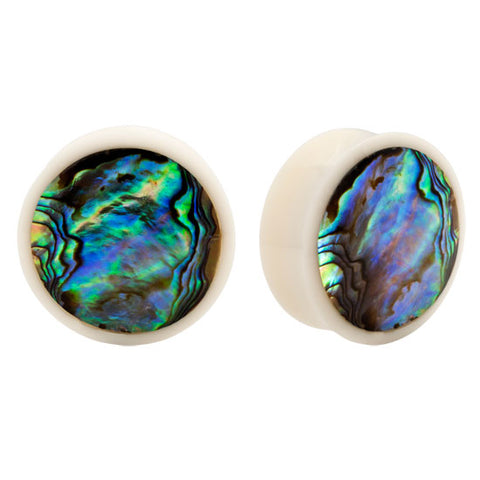 PAIR | Organic Bone with Abalone Inlay Double Flared Plugs