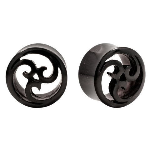 PAIR | Intricate Carved Horn Wave Design Double Flared Plugs