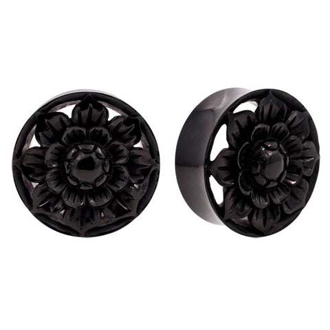 "PAIR HAND Carved Horn Lotus Flower Flared Plugs 1/2"" to 1"" Organic Flesh Unique"