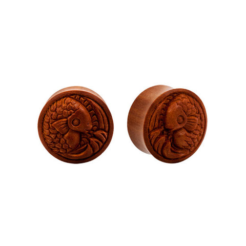 PAIR Double Flared Dark Sawo Wood Koi Fish Ear Plugs Tunnels ORGANIC Flesh Rare