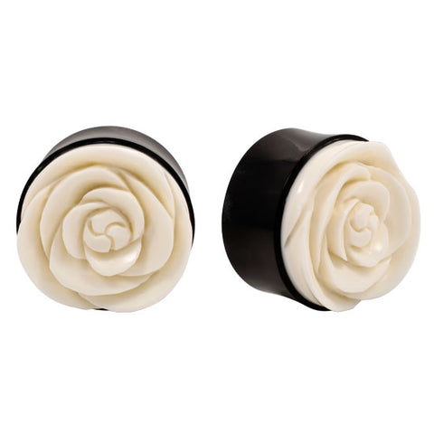 PAIR ORGANIC Double Flare Horn Flesh Plugs Carved Buffalo Bone Flower Tunnel