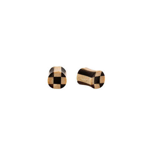 "2g-1"" PAIR ORGANIC Double Flared Areng & Crocodile Wood Checkerboard Flesh Plugs - Piercing Pros"