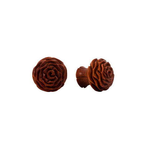 "0g-1"" PAIR ORGANIC Intricate Carved Double Flared Flesh Wood Flower Plugs Ear - Piercing Pros"