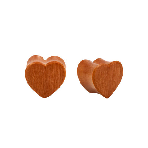 PAIR ORGANIC Double Flared Carved Sawo Wood Heart Plugs Sexy Cute  Flesh 8g-1""