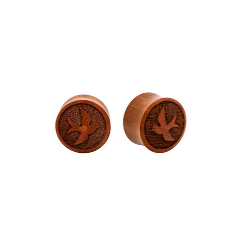 PAIR ORGANIC Sparrow Carved Sawo Wood Double Flared Hollow Flesh Tunnels Plugs